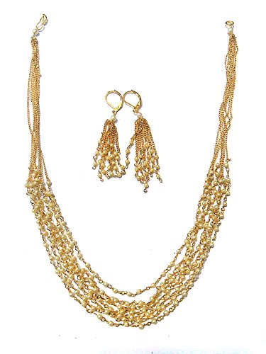 Party Wear Stylish Pearl Necklace Jewellery Set with Earrings For Women /...