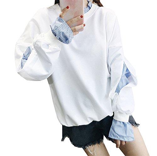 COCO Clothing Autunno Inverno Felpe Grande Manica Lunga Nuovo Donna Larghe Girocollo Cappotti Più Velluto Più Spesso Cappotto Tinta Unita College Top Bianco