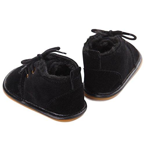 Lalang Bottes de Neige Bébé Fille Garçon Bottines Chaussures Premiers Pas Chaud Hiver Chaussons,0-18 mois Noir