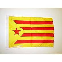 BANDERA de CATALUÑA ESTELADA VERMILLA 45x30cm - BANDERINA CATALUNYA INDEPENDENTISTA GROGA 30 x 45 cm cordeles - AZ FLAG