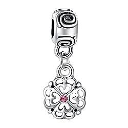 Carina Flower Charm Pendant Fits Pandora Bracelets (Red)