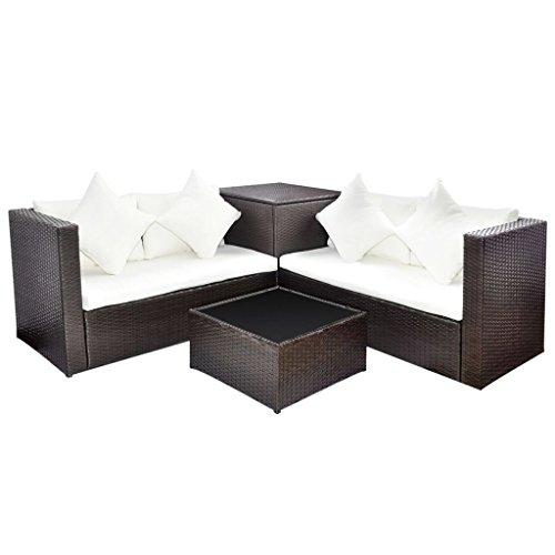 Vidaxl set divani da giardino 14x poli rattan marrone divanetti poltrone sofà