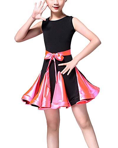 Samba Tänzerin Kostüm - DianShaoA Mädchen Latin Ballett Kleid Party Dancewear Ballsaal Samba Performance Kostüme Dancewear Rose 170
