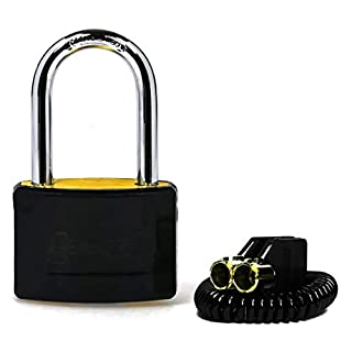 Tubular Key Brass Locker Padlock / Gym Padlock With Keys / High Security Lock For School Or Gym Locker, Luggage or Suitcase / 3 Different Colours / Long Shackle (Black)