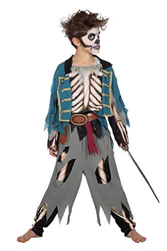 Kostüm Pirat Kind Zombie - Wilbers Piratenkostüm Halloween Pirat Kostüm Kinder Jungen Zombie Fluch Horror 116-176 Blau/Grau/Weiß 164/176 (14-16 Jahre)