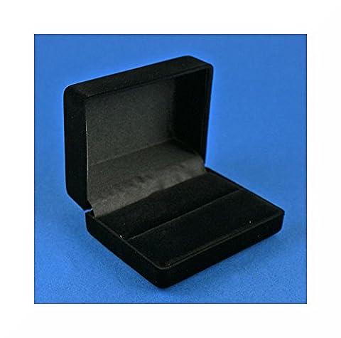 Boîte de présentation/écrin pour boutons de manchette Qualité supérieure, Velours, noir, grand, noir