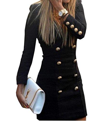 Rcool Damen Schlanke Langarm Mode Tasten lässig V Neck Cocktail figurbetonten Kleid Schwarz (M)
