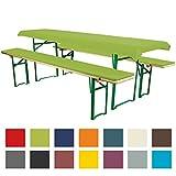 Bierbankauflagen Set 3teilig Comfort XS in versch. Farben und Größen für 70cm Tische Apfelgrün