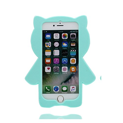 iPhone 7 Plus Copertura,giallo gatto cat del fumetto 3D bella copertura molle della cassa del silicone di TPU della pelle protettiva della pelle Case cover per iPhone7 Plus 5.5 inch blu