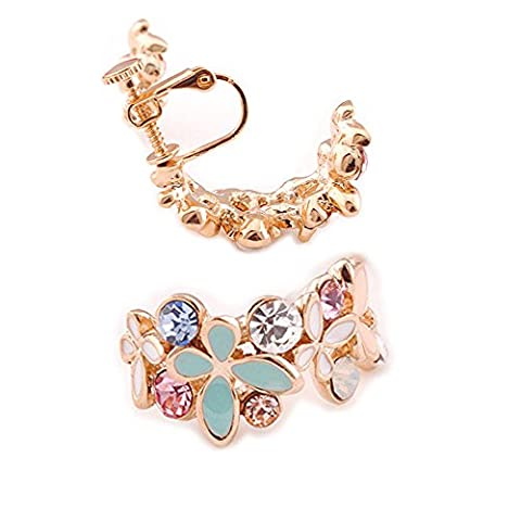 Latigerf Fashion Jewellery Gold Plated Women's Butterfly Flower Screw Back Non-Pierced Clip on Earring Clips for non Pierced Ears for Girl