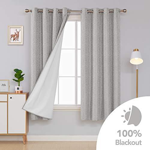 Deconovo Blickdicht Gardinen mit Schaumbeschichtung Verdunkelungsvorhang Ösen Schlafzimmer 175x140 cm Grau 2er Set