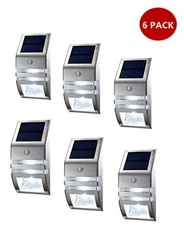 Solar Motion Sensor Light Outdoor New Generation Design/ Lifetime Guarantee/ PIR Sensor Solar Powered Led/ Stainless Steel/ Waterproof Durable/ Fence Wall DriveWay Garden Patio Path Light/ Improve Security/ Protect Your Investment (6, Silver) by Skysolar Inc.