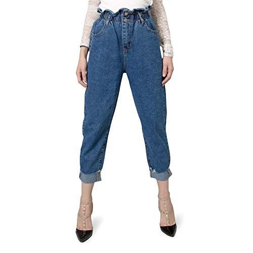 MForshop Jeans Donna Pantalone Denim Casual Vita Alta Boyfriend Cavallo Basso Ampio 5221 - Jeans, L