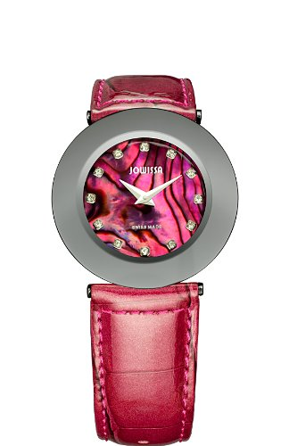 Jowissa Safira 999 Women's Quartz Watch with Mother of Pearl Dial Analogue Display and Red Leather Strap J1.063.L