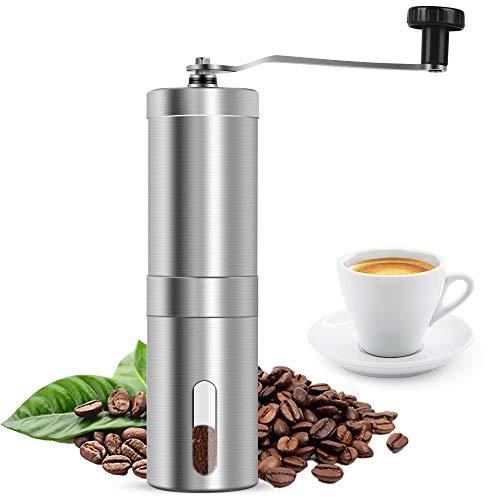 laxikoo Manuelle Kaffeemühle, Hand-Kaffeemühle aus Edelstahl mit Keramik-Mahlwerk Espresso-Mühle stufenloser Einstellung des Mahlgrads Tragbare Kaffee Mühle für Zuhause, Büro, Camping