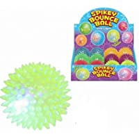 12 Light Up Spikey Balls With Squeakers 75mm