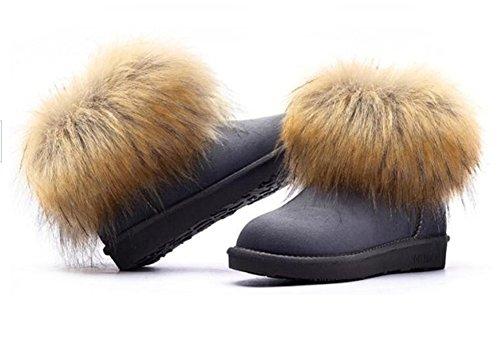 Wealsex Bottes Fourrées Doublée Chaleureux Botte De Neige Cheville Classique Mode Uni Couleur Pur Plate Chaussure De Coton Chaussures d'hiver Grande Taille 39 40 Femme Gris