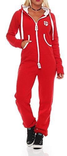 Hoppe Damen Jumpsuit Jogger Einteiler Jogging Anzug Trainingsanzug Overall (L, Rot)