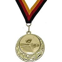 JoGo Medaille Ø70mm Bogenschießen goldfarben mit Band
