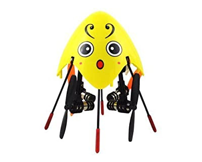 Cheerson CX-205 / SH 6057 3.1'' Mini 2.4G 4CH 6 Axis Gyro 3D Flip LED Light RC Quadcopter Ready to Fly Toys RTF Drone - Yellow Lovely Bee (with Mode 2 Left Throttle Transmitter) Best Gift for Christmas Birthday Thanksgiving by Cheerson by Cheerson