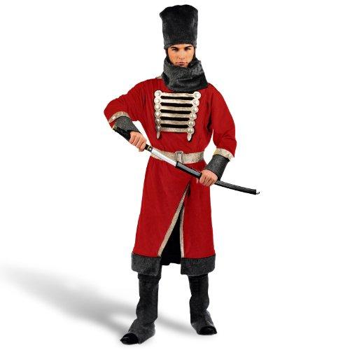 Für Erwachsenen Kosaken Kostüm - Kosak Uniform Herren Karneval Kostüm 6-tlg Mantel Hose Stulpen Kappe Gürtel Schal - XXL