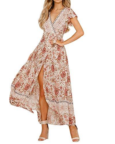 MINTLIMIT Kleider Damen Boho Sommerkleid Blumen V-Ausschnitt Kurzarm Wrap Split Maxikleid Vintage Standkleid Weiß S