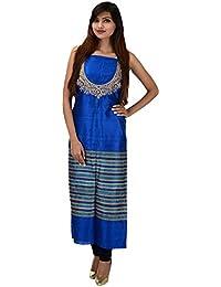Antarnaad Women's Tassar Silk Straight Chikankari Unstitched Dress Material (AP0120, Blue)