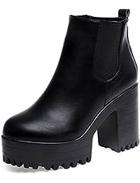 XINANTIME - Botas de mujer Zapatos de mujer Botines de tobillo Mujer Martín Botas Tacón alto cuadrado Moda Otoño invierno Zapatos (37, Negro)