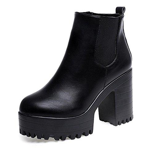 XINANTIME - Botas de mujer Zapatos de mujer Botines de tobillo Mujer Martín Botas Tacón alto cuadrado Moda Otoño invierno Zapatos (38, Negro)