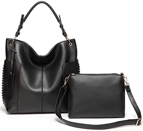 Frauen Handtasche Mode Tragetaschen Für Frauen Zwei Stücke Set Tasche Weiche Kunstleder Umhängetasche Black - Nicole 2 Stück
