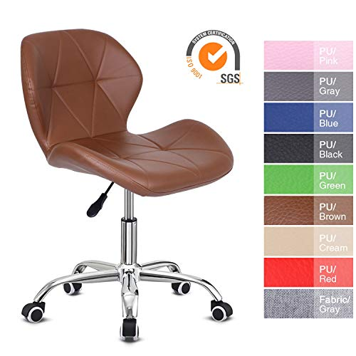 EUCO Office Chair,Brown PU Leather Desk Chair for Home Adjustable Height Swivel Chair Comfy Padded Computer Chair,Home/Office Furniture