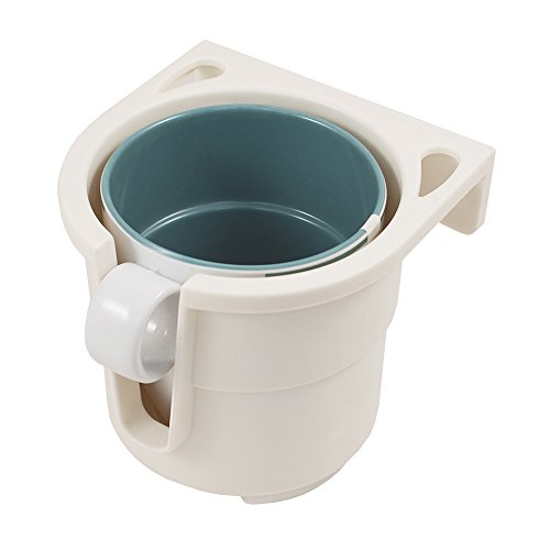 Preisvergleich Produktbild Lalizas - Getränke-Halterung für | Flaschen | Dosen | bis max. 9 cm Durchmesser | breites Einsatzspektrum | Auto | KFZ | Camping | Boot | in den Farben | Grau oder Weiß | inkl. Montageplatte (Weiß)
