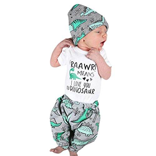 JIANGFU Baby Kurzarm drei Anzug,Neugeborene Säuglingsbaby-Mädchen-Buchstabe-Druck-Spielanzug-Oberseiten + Dinosaurier-Hosen-Ausstattungs-Set (Anzug Beängstigend)