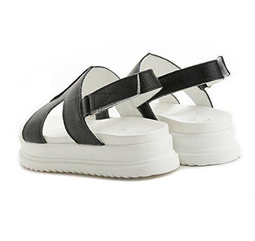 Damen Sandalen Dicke Sohle Anti-Rutsche Klettverschluss Slingback Sommer Bequeme Einfache Schuhe Schwarz