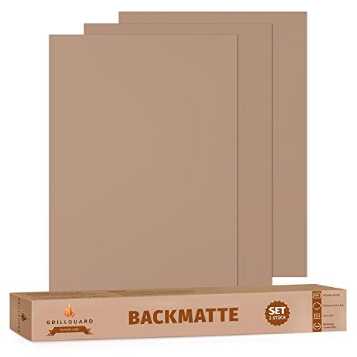 Dauerbackfolie / Backmatten wiederverwendbar 3er Set von GRILLGUARD - Beidseitig verwendbar, geruchlos, ohne Silikon (40cm x 33cm)