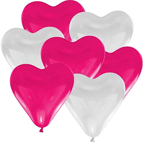 25 Herz Luftballons Ø 30 cm Farbe frei wählbar Herzballons Helium Luftballon (Pink/Weiß)