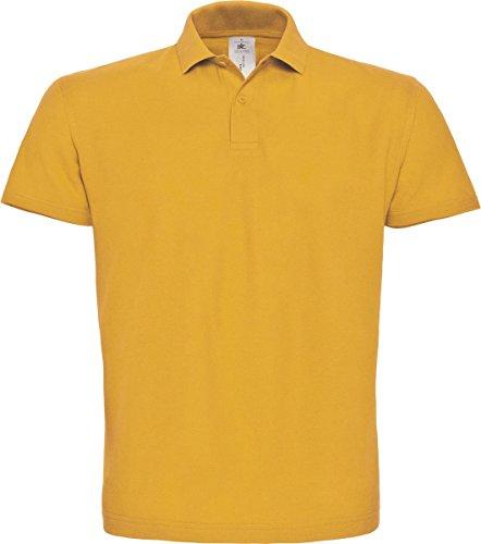 B & C ID. 001Short Sleeve Polo Shirt Herren Casual Wear 2Button Baumwolle Tee Top - Chilli Gold