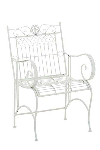 SIKALO Essstuhl für den Garten, Farbe Weiß - Gartenstuhl bequem mit Armlehnen, wetterfest aus Metall (pflegeleicht) (Dekorative Akzent-stühle)