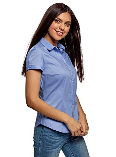 oodji Ultra Damen Kurzarm-Hemd aus Baumwolle, Blau, DE 36 / EU 38 / S