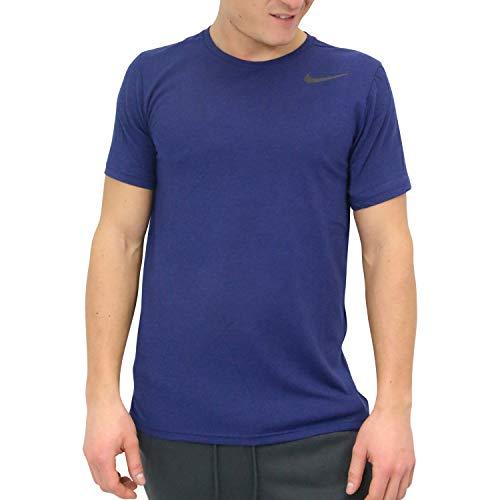 Nike Herren M NK BRT TOP Short Sleeve HPR Dry T-Shirt, Blue Void/Htr/Black, L - Mesh Black Short Sleeve Top