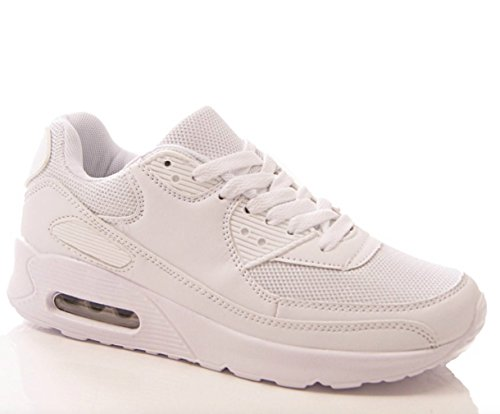 Ladies womens girls all white trainers flat casual sports P.E lace up shoes (UK 6 / EU 39)