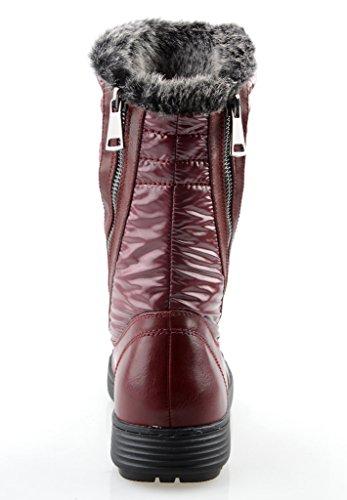 Eyekepper Frauen Comfort Round Toe Mitte Kalb Flache Ankle Hohe Winter-Vollpelzfutter Reißverschluss Stacked-Schnee-Aufladungen Burgundy