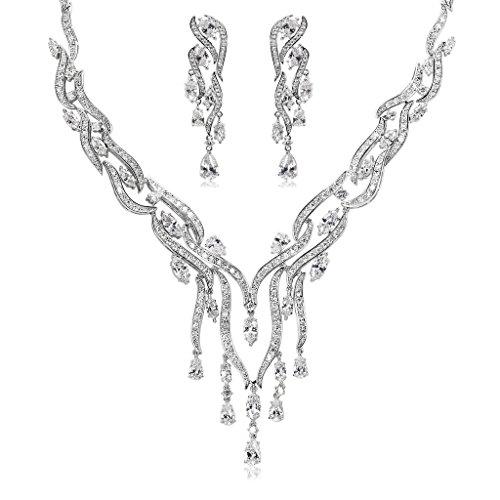 Epinki Plaqué Argent Ensemble de Bijoux Pour Mariée Collier et Boucles D'Oreilles de Strass 4 Couleurs Blanc
