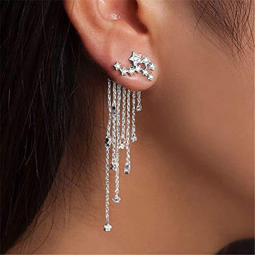 WJSAT Ohrringe Strass Gold Silber Farbe Stern Streamlined Lange Quaste Ohrringe Für Frauen Hochzeit Brautschmuck, A2 (Männer Ohrringe Grüne)