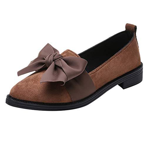 Yvelands Damen Schuhe Spitzen Flock Slip-On Schuhe Quadratische Ferse Jobs Einzelne Schuhe Bogen Schuhe(CN-37,Braun)