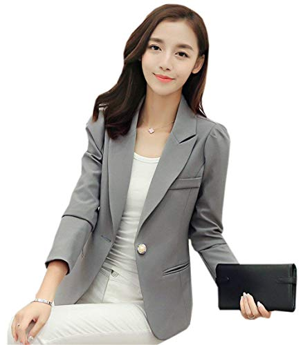 a775feba5c0 American Women Elegant Lapel Buttons Long Sleeve Basic Blazer Slim Fit  Solid Color Business Style Office
