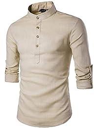 ROBO Herren Leinenhemd Langarm Shirt Stehkragen Hemd Slim Fit Knopfleisten 20d61336e3