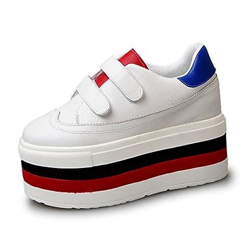 Collants peu de chaussures blanches,Épaissir baskets sole,chaussures de conseil d'université,[chaussures de style harajuku]-A Longueur du pied=23.3CM(9.2Inch)