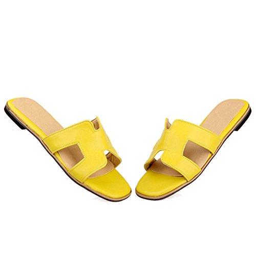 TAOFFEN Damen Gemutlich Schlupfschuhe Sandalen Strand Flach Sommer Sommer Slide Gelb