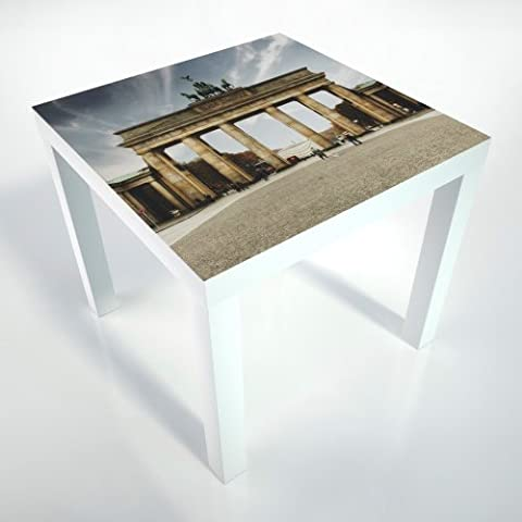 Table Basse + pellicule de protection + 55x55x45 cm + table blanche + table basse + Berlin + motif